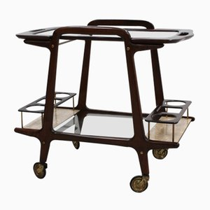 Mid-Century Italian Glass & Wood Serving Trolley by Ico Parisi for Baggis, 1950s