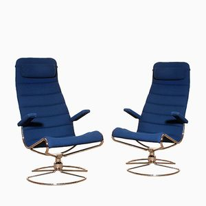 Royal Blue Minister Chairs by Bruno Mathsson, 1980s, Set of 2