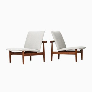 FD-137 Mid-Century White Easy Chairs by Finn Juhl for France & Daverkosen, 1950s, Set of 2