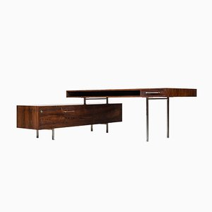 Mid-Century Danish Rosewood Desk with Sideboard, 1950s