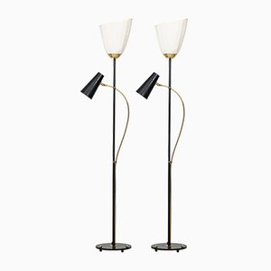 Mid-Century Swedish Floor Lamps, 1950s, Set of 2
