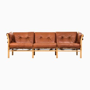 Mid-Century Brown Leather Ilona Sofa by Arne Norell, 1960s