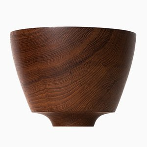 Mid-Century Brown Teak Bowl, 1960s
