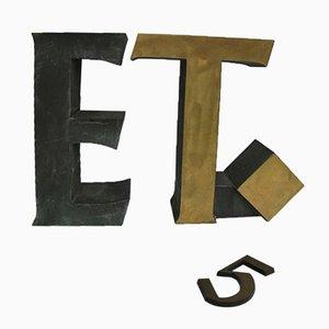 T, E und 5 Schilder aus Messing, 1950er