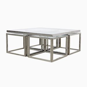Vintage Chromed Coffee Table with Four Nesting Tables from Maison Charles