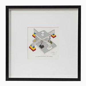 Lithographie Architettura per riconoscere i punti cardinali par Ettore Sottsass, 1990