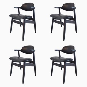 Cowhorn Chairs in Black Leather by Tijsseling for Hulmefa, 1950s, Set of 4