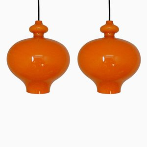 Orange Glass Pendant Lights by Hans Agne Jakobsson, 1960s, Set of 2