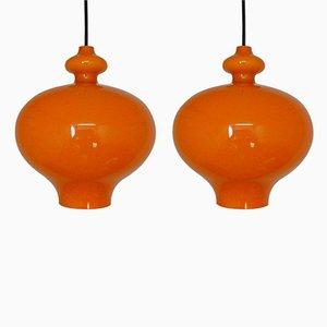 Orange Glass Pendant Lights by Hans Agne Jakobsson, 1960s, Set of 2