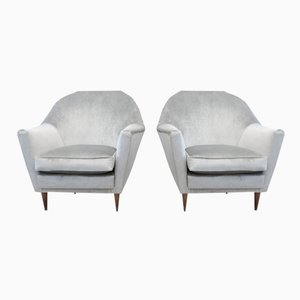 Vintage Italian Grey Velour Armchairs, Set of 2