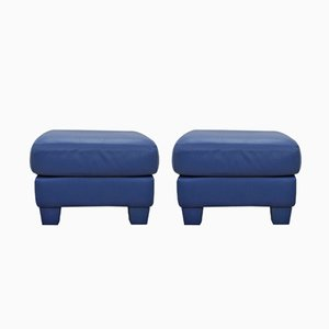 DS17 Blue Leather Ottomans from de Sede, 1990s, Set of 2