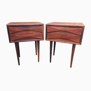 Vintage Rosewood Bedside Tables by Arne Vodder for NC Mobler Odense, Set of 2