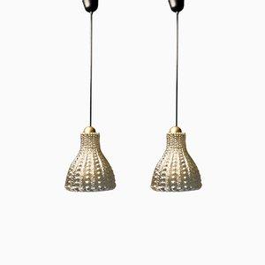 Lampade a sospensione vintage con bolle ambrate di Peill & Putzler