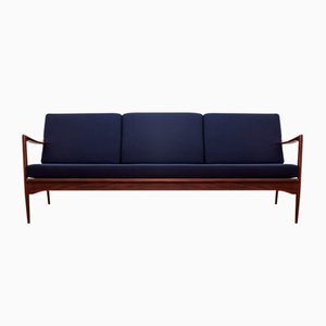 Afromosia & Wool Kandidaten Sofa by Ib Kofod-Larsen for OPE, 1950s