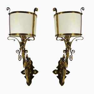 Buy art nouveau wall lights sconces at pamono english arts crafts brass wall lamps 1900s aloadofball