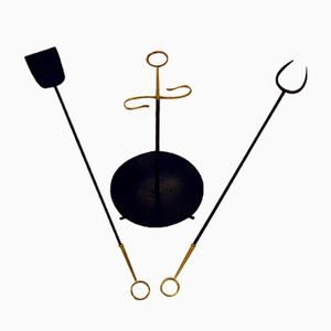 Mid-Century Fireplace Set by Gunnar Ander for Ystad Metall