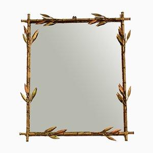 Französischer Spiegel aus Metall in Bambus Optik, 1970er