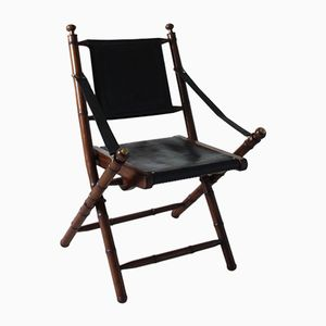 Foldable French Chair in Leather, 1970s