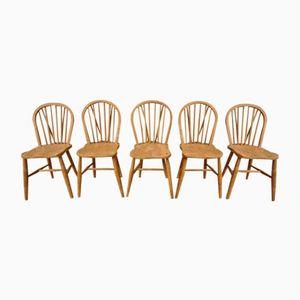 Vintage Windsor Bow-Back Chairs, Set of 5