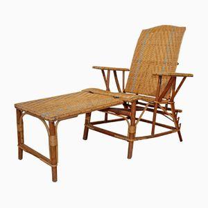 Vintage Rattan Armlehnstuhl und Hocker