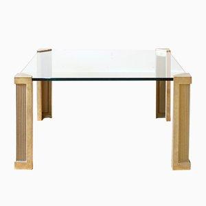 Table Basse en Laiton & Verre par Peter Ghyczy, 1970s