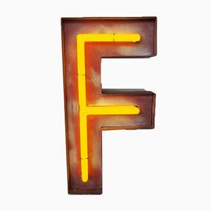 Lettera F vintage al neon, Germania, anni '60