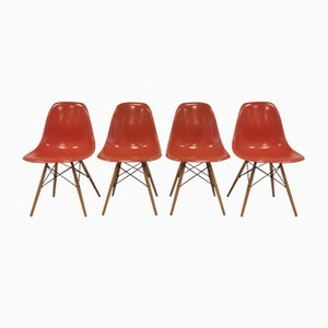 Mid-Century Fiberglass Side Chairs by Charles & Ray Eames for Herman Miller/ Vitra, Set of 4