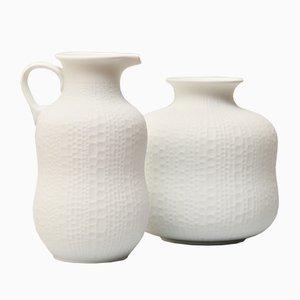 Vintage Handmade White Bisque Relief Decor Vases from Royal Porzellan KPM, Set of 2