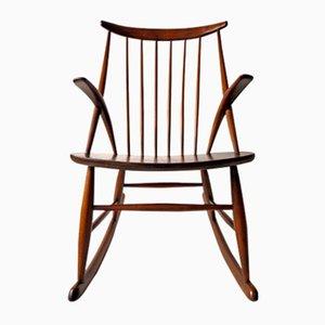Rocking Chair Gyngestol No. 3 par Illum Wikkelso pour Niels Eilersen, 1950s