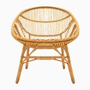 Mid-Century Wicker Armchair, 1950s