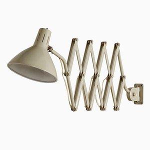 Lampada a forbice 110 industriale color crema di H. Busquet per Hala, anni '60