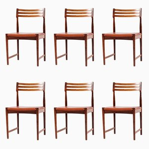 Rosewood & Leather Dining Chairs by Severin Hansen for Bovenkamp, 1960s, Set of 6