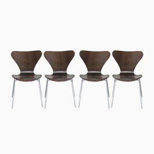 Braune 3107 Stühle von Arne Jacobsen für Fritz Hansen, 1976, 4er Set