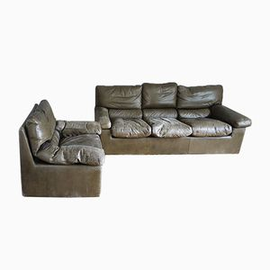 Leather Living Room Set by Guido Faleschini for I 4 Mariani, 1970s