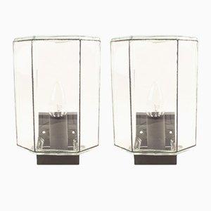 Lampade da parete in vetro di Limburg, anni '70, set di 2