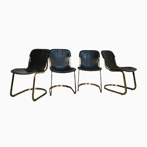 Brass and Black Leather Dining Chairs by Willy Rizzo for Cidue, 1970s, Set of 4
