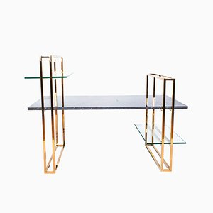Attached Marble Coffee Table with a Copper Frame by Cose