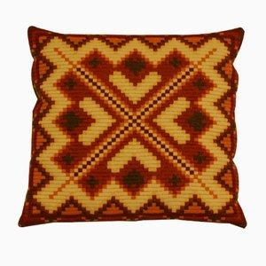 Vintage Danish Hand-Embroidered Sofa Cushion