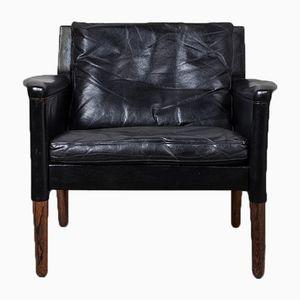 Danish Black Leather Lounge Chair by Hans Olsen, 1960s