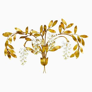 Mid-Century Large Floral Tole Wall Light by Maison Bagues