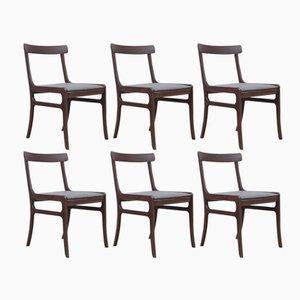 Modell Rungstedlund Stühle aus Mahogany von Ole Wanscher für Poul Jeppesens Møbelfabrik, 1960er, 6er Set