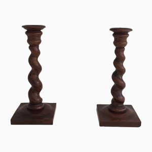 Twisted Wooden Candlesticks, 1900s, Set of 2