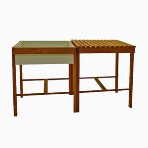 Table d'Appoint en Chêne et Cache-pot, 1950s
