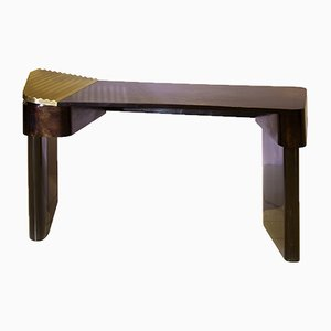 Polished Brass and Wood Veneer Moon Desk by Privatiselectionem