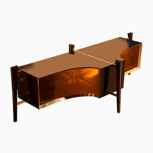 Dark Vador Brass Lined Wooden Console by Privatiselectionem
