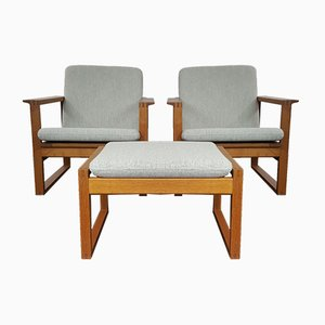 2256 Oak Lounge Sled Chairs & Footstool by Børge Mogensen for Fredericia Stolefabrik, 1956, Set of 2