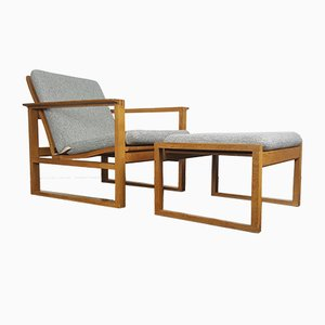 2256 Oak Lounge Sled Chair & Footstool by Børge Mogensen for Fredericia Stolefabrik, 1956