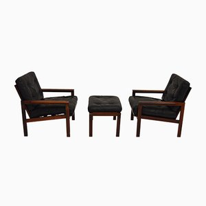 Vintage Easy Chairs and Stool in Rosewood by Illum Wikkelsø for Niels Eilersen
