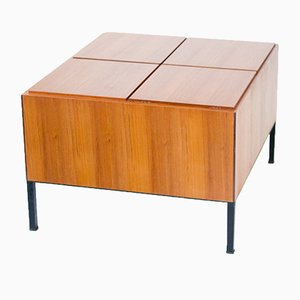 Iron & Teak Cocktail Table with Bar, 1950s