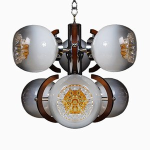 Vintage Murano Glass Hanging Lamp with 6 Diffusers from Mazzega